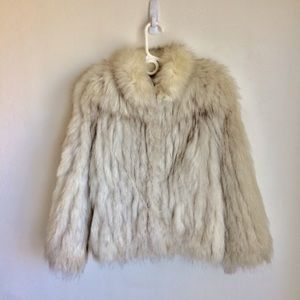 Saga Fox Fur Jacket Silver Tan Accents XS